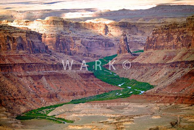 Spring runoff greens valley along desert river