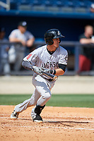 Jackson Generals second baseman Colin Walsh (8) follows through on a swing during a game against the Biloxi Shuckers on April 23, 2017 at MGM Park in Biloxi, Mississippi.  Biloxi defeated Jackson 3-2.  (Mike Janes/Four Seam Images)