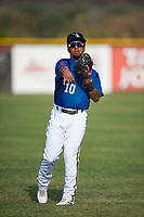 Missoula Osprey infielder Eddie Hernandez (10) warms up before a Pioneer League game against the Grand Junction Rockies at Ogren Park Allegiance Field on August 21, 2018 in Missoula, Montana. The Missoula Osprey defeated the Grand Junction Rockies by a score of 2-1. (Zachary Lucy/Four Seam Images)