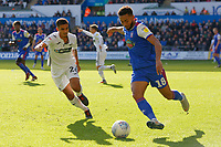 (L-R) Kyle Naughton of Swansea City runs against Grant Ward of Ipswich Town during the Sky Bet Championship match between Swansea City and Ipswich Town at the Liberty Stadium, Swansea, Wales, UK. Saturday 06 October 2018