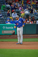 Edwin Rios (24) of the Oklahoma City Dodgers on defense against the Salt Lake Bees at Smith's Ballpark on July 31, 2019 in Salt Lake City, Utah. The Dodgers defeated the Bees 5-3. (Stephen Smith/Four Seam Images)