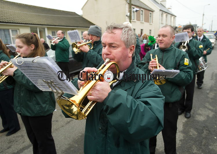 Paddy Joyce of St Patrick's Brass band playing at the St Patrick's Day Parade in Doonbeg. Photograph by John Kelly.