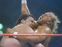 Andre the Giant Hulk Hogan, 1987 Wrestlemania 3, Photo By John Barrett/PHOTOlink