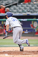 Joc Pederson of Team Israel hustles down the first base line against Team Spain during the World Baseball Classic preliminary round at Roger Dean Stadium on September 21, 2012 in Jupiter, Florida. Team Israel defeated Team Spain 4-2. (Stacy Jo Grant/Four Seam Images)..
