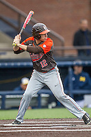 Bowling Green Falcons outfielder Kory Brown (12) at bat against the Michigan Wolverines on April 6, 2016 at Ray Fisher Stadium in Ann Arbor, Michigan. Michigan defeated Bowling Green 5-0. (Andrew Woolley/Four Seam Images)