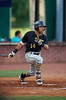 Bristol Pirates center fielder Jonah Davis (14) follows through on a swing during a game against the Elizabethton Twins on July 28, 2018 at Joe O'Brien Field in Elizabethton, Tennessee.  Elizabethton defeated Bristol 5-0.  (Mike Janes/Four Seam Images)