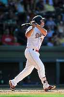 Second baseman Chad De La Guerra (20) of the Greenville Drive bats in a game against the Columbia Fireflies on Sunday, May 8, 2016, at Fluor Field at the West End in Greenville, South Carolina. Greenville won, 5-4. (Tom Priddy/Four Seam Images)