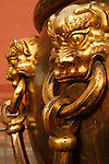 A close up view of the handle of a water vat in Forbidden City. Beijing. China