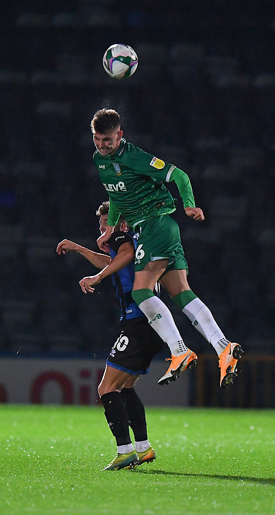 Sheffield Wednesday's Liam Shaw out jumps Rochdale's Alex Newby<br /> <br /> Photographer Dave Howarth/CameraSport<br /> <br /> Carabao Cup Second Round Northern Section - Rochdale v Sheffield Wednesday - Tuesday 15th September 2020 - Spotland Stadium - Rochdale<br />  <br /> World Copyright © 2020 CameraSport. All rights reserved. 43 Linden Ave. Countesthorpe. Leicester. England. LE8 5PG - Tel: +44 (0) 116 277 4147 - admin@camerasport.com - www.camerasport.com