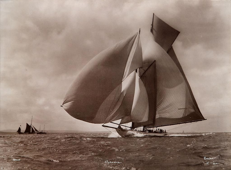 Is this the ultimate sailing portrait? The Fife schooner Suzanne in 1911 with all eight sails filled to perfection. Photo through Pinterest courtesy Beken of Cowes