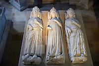 Tomb of (from left) King Philippe V le Long (1294 - 1322, Jeane d'Evreux ( 1307 - 1371) and Charles IV le Bel (1294 - 1328). The Gothic Cathedral Basilica of Saint Denis ( Basilique Saint-Denis ) Paris, France. A UNESCO World Heritage Site.