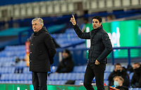 19th December 2020, Goodison Park, Liverpool, England;  Arsenals manager Mikel Arteta instructs in front of Evertons manager Carlo Ancelotti during the Premier League match between Everton FC and Arsenal FC