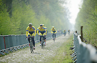 Team Tinkoff SAXO through sector 18: Pavé de la Trouée d'Arenberg<br /> <br /> 2014 Paris-Roubaix reconnaissance