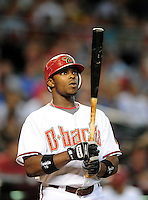 Jul. 29, 2009; Phoenix, AZ, USA; Arizona Diamondbacks outfielder Justin Upton against the Philadelphia Phillies at Chase Field. Mandatory Credit: Mark J. Rebilas-