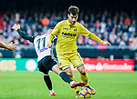 Manuel Trigueros Munoz of Villarreal CF (R) fights for the ball with Andreas Pereira of Valencia CF (L) during the La Liga 2017-18 match between Valencia CF and Villarreal CF at Estadio de Mestalla on 23 December 2017 in Valencia, Spain. Photo by Maria Jose Segovia Carmona / Power Sport Images
