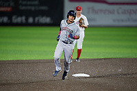 Mahoning Valley Scrappers Bryan Lavastida (1) rounds the bases after hitting a home run during a NY-Penn League game against the Auburn Doubledays on August 27, 2019 at Falcon Park in Auburn, New York.  Auburn defeated Mahoning Valley 3-2 in ten innings.  (Mike Janes/Four Seam Images)