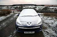 Pictured: A car is covered by snow off the A4059 in the Brecon Beacons, south Wales, UK.  Friday 08 December 2017<br /> Re: Snow and ice has been forecast for parts of the UK.