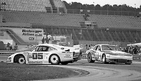 The #05 Porsche 935J of Miguel Morejon, Fernando Garcia, and Tico Almeida spins in front of the #10 Porsche 924 of James Kendall, Bill Johnson and Dave White during the SunBank 24 at Daytona, Daytona International Speedway, Daytona Beach, FL, Feb. 4-5, 1984. (Photo by Brian Cleary/www.bcpix.com)