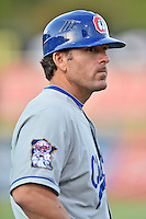 Chattanooga Lookouts manager Doug Mientkiewicz (16) during a game against the Tennessee Smokies on April 25, 2015 in Kodak, Tennessee. The Smokies defeated the Lookouts 16-10. (Tony Farlow/Four Seam Images)