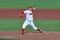 Orem Owlz starting pitcher Jose Suarez (17) delivers a pitch to the plate against the Billings Mustangs in Game 2 of the Pioneer League Championship at Home of the Owlz on September 16, 2016 in Orem, Utah. Orem defeated Billings 3-2 and are the 2016 Pioneer League Champions. (Stephen Smith/Four Seam Images)