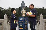The Webb Ellis Cup is pictured at the (XXX) as part of the Rugby World Cup Trophy Tour, delivered in partnership with Land Rover and DHL ahead of Rugby World Cup 2015 on December 08, 2014 in Hong Kong, China. Photo by Jerome Favre / Power Sport Images