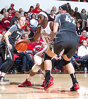 Stanford's Chiney Ogwumike, drives the ball down court during Stanford women's basketball  vs Washington State at Maples Pavilion, Stanford, California on March 1, 2014.