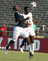 04 September 2009:Bright Dike #9 of the University of Notre Dame clashes with Ike Opara #23 of Wake Forest University during an Adidas Soccer Classic match at the University of Indiana in Bloomington, In. The game ended in a 1-1 tie..