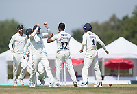 Thilan Walallawita celebrates with Middlesex team mates following the dismissal of James Fuller during Middlesex CCC vs Hampshire CCC, Bob Willis Trophy Cricket at Radlett Cricket Club on 11th August 2020