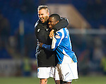 St Johnstone v Celtic.....19.02.13      SPL.Nigel Hasselbaink celebrates with Rowan Vine.Picture by Graeme Hart..Copyright Perthshire Picture Agency.Tel: 01738 623350  Mobile: 07990 594431