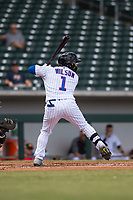 Mesa Solar Sox center fielder D.J. Wilson (1), of the Chicago Cubs organization, at bat during an Arizona Fall League game against the Peoria Javelinas at Sloan Park on October 11, 2018 in Mesa, Arizona. Mesa defeated Peoria 10-9. (Zachary Lucy/Four Seam Images)