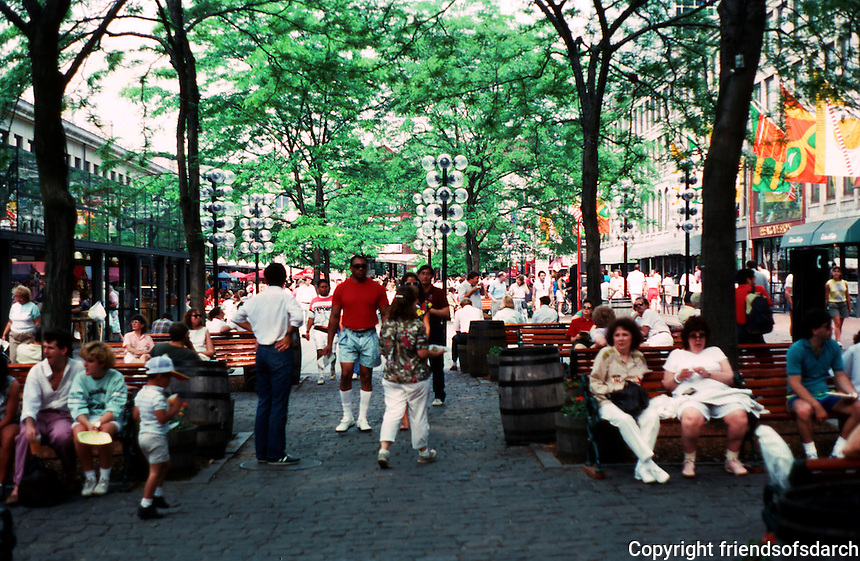 Boston:  Faneuil Hall Markets--looking east in late afternoon along south side.  Photo '88.