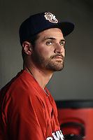 Oklahoma City RedHawks pitcher Nick Tropeano (16) in the dugout during a game against the Memphis Redbirds on May 23, 2014 at AutoZone Park in Memphis, Tennessee.  Oklahoma City defeated Memphis 12-10.  (Mike Janes/Four Seam Images)