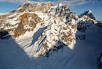 Winter aerial landscape of the Mooses Tooth massif and the  Ruth Glacier  in the Alaska Range.  <br /> Photo by Jeff Schultz/SchultzPhoto.com  (C) 2017  ALL RIGHTS RESERVED