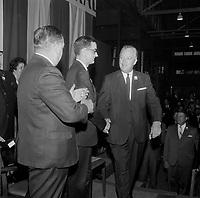 Le Premier Ministre<br />  et chef liberal Jean Lesage et son epouse en campagne pour sa re-election, 2 juin 1966, au Patro Roc-A-Madour.<br /> <br /> PHOTO :  Agence Quebec Presse - Photo Moderne