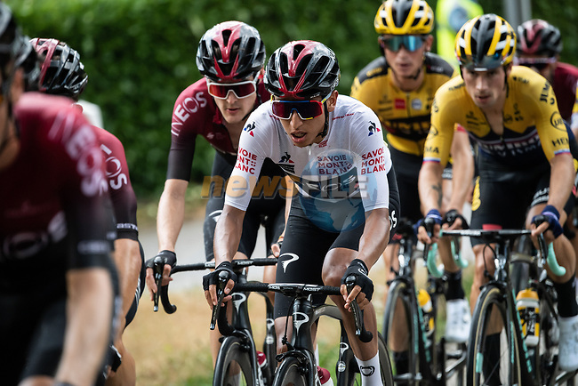 Team Ineos with White Jersey Egan Bernal (COL) take control of the pace on the front of the peloton on the final climb during Stage 2 of Criterium du Dauphine 2020, running 135km from Vienne to Col de Porte, France. 13th August 2020.<br /> Picture: ASO/Alex Broadway | Cyclefile<br /> All photos usage must carry mandatory copyright credit (© Cyclefile | ASO/Alex Broadway)