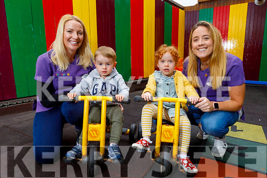 The Little Stars Child Care Centre in Firies reopens their doors after the 12 week lockdown.<br /> L to r; Edwina Moynihan, Odhran Smyth, Estelle Crichton and Elaine O'Connor.