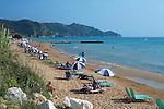 Greece, Corfu, Arillas: View along beach on North West coast of island