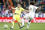 Real Madrid's Marcelo Vieira (r) and Villareal's Mario Gaspar during La Liga match. April 20,2016. (ALTERPHOTOS/Acero)