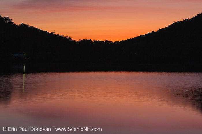 Franconia Notch State Park - Echo Lake at dusk during the spring months in the White Mountains, New Hampshire USA.