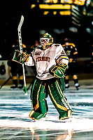 26 January 2019:  University of Vermont Catamount Goaltender Stefanos Lekkas, a Junior from Elburn, IL, is introduced prior to a game against the Merrimack College Warriors at Gutterson Fieldhouse in Burlington, Vermont. The Catamounts defeated the Warriors 4-3 in overtime to take both games of their weekend America East conference series. Mandatory Credit: Ed Wolfstein Photo *** RAW (NEF) Image File Available ***
