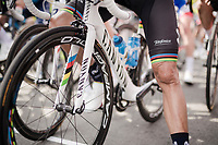 World Champion Alejandro Valverde (ESP/Movistar) at the race start in Ans<br /> <br /> 83rd La Flèche Wallonne 2019 (1.UWT)<br /> One day race from Ans to Mur de Huy (BEL/195km)<br /> <br /> ©kramon