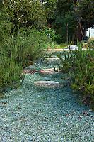 Dymondia margaretae (Silver Carpet) groundcover for path, Coyote House, SITES® residential home with sustainable garden Santa Barbara California, Susan Van Atta design