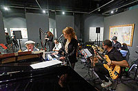 "Pictured: The band rehearses. Saturday 21 September 2019<br /> Re: Concert for the exhibition of ""No More Shall We Part, 14 Paintings, 17 Years Later"", a collection of paintings based on the Nick Cave and the Bad Seeds album with the same name, by Stefanos Rokos at Bernerts Gallery in Antwerp, Belgium."