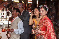 Nepal, Patan.  Young Woman at the Golden Temple for the Performance of a Wedding Ceremony.