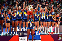 210905 -- BELGRADE, Sept. 5, 2021 -- Italy s players celebrate after winning the CEV EuroVolley 2021 women s volleyball gold medal match between Serbia and Italy in Belgrade, Serbia on Sept. 4, 2021. Photo by /Xinhua SPSERBIA-BELGRADE-VOLLEYBALL-CEV EUROVOLLEY-SERBIA VS ITALY PredragxMilosavljevic PUBLICATIONxNOTxINxCHN <br /> Belgrado 04-09-2021 <br /> Europei Pallavolo Femminile <br /> Italia Campione D Europa <br /> Photo Imago/Insidefoto <br /> Italy Only