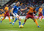 St Johnstone v Galatasaray…12.08.21  McDiarmid Park Europa League Qualifier<br />Shaun Rooney and Marcao<br />Picture by Graeme Hart.<br />Copyright Perthshire Picture Agency<br />Tel: 01738 623350  Mobile: 07990 594431