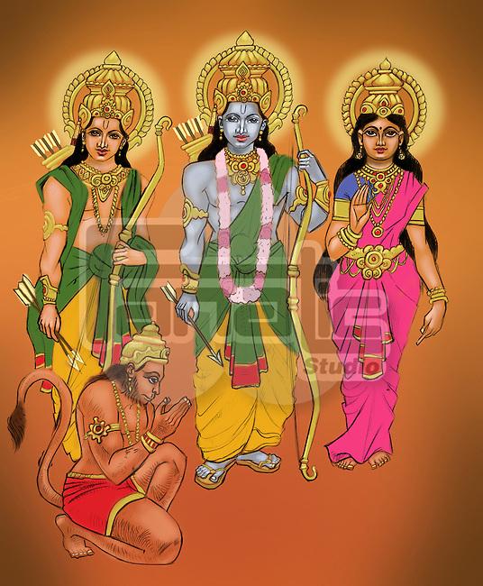 Lord Rama and Goddess Sita with Lakshmana and Lord Hanuman
