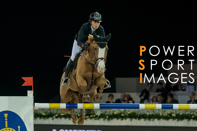 Pilar Lucrecia Cordon of Spain riding Gribouille du Lys during the Hong Kong Jockey Club Trophy competition, part of the Longines Masters of Hong Kong on 10 February 2017 at the Asia World Expo in Hong Kong, China. Photo by Marcio Rodrigo Machado / Power Sport Images