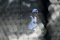 Heritage's Stella de Vera serves, Monday, October 11, 2021 during the 6A state girls and boys tennis tournament at Memorial Park in Bentonville. Check out nwaonline.com/211012Daily/ for today's photo gallery. <br /> (NWA Democrat-Gazette/Charlie Kaijo)
