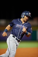 Jacksonville Jumbo Shrimp second baseman Justin Twine (11) rounds the bases after Joe Dunand (not pictured) hit a home run during a game against the Pensacola Blue Wahoos on August 15, 2018 at Blue Wahoos Stadium in Pensacola, Florida.  Jacksonville defeated Pensacola 9-2.  (Mike Janes/Four Seam Images)